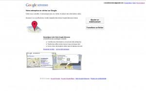 Ajouter une fiche google adresses