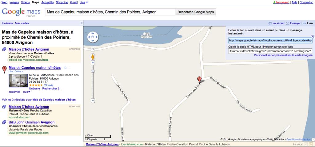 Récupérer le lien google map pour faire le code