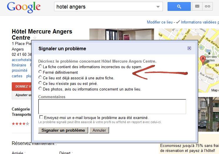 fermer un lieu google adresse