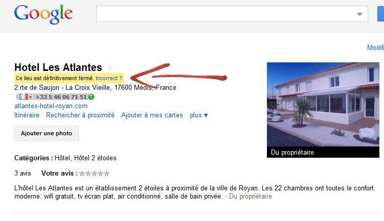 Fiche google adresses fermée