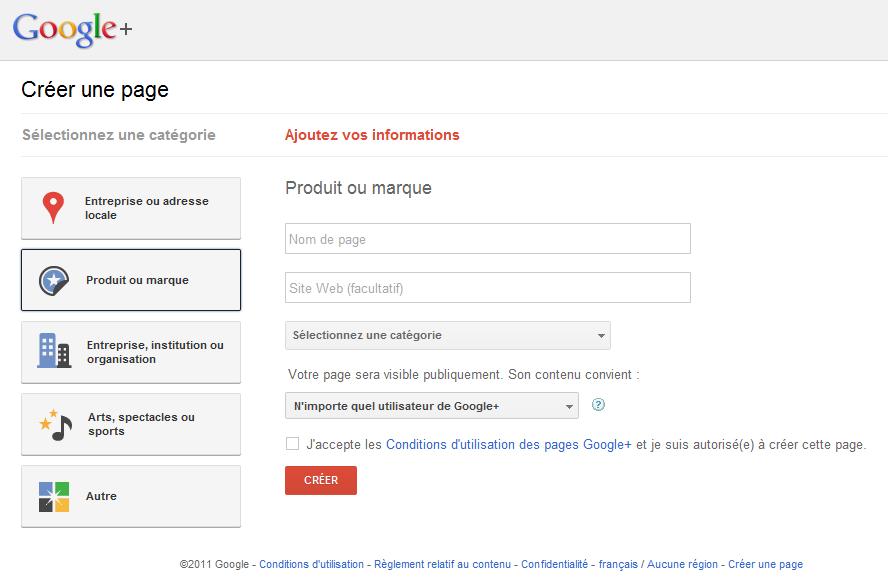 Créer une page Google PLus